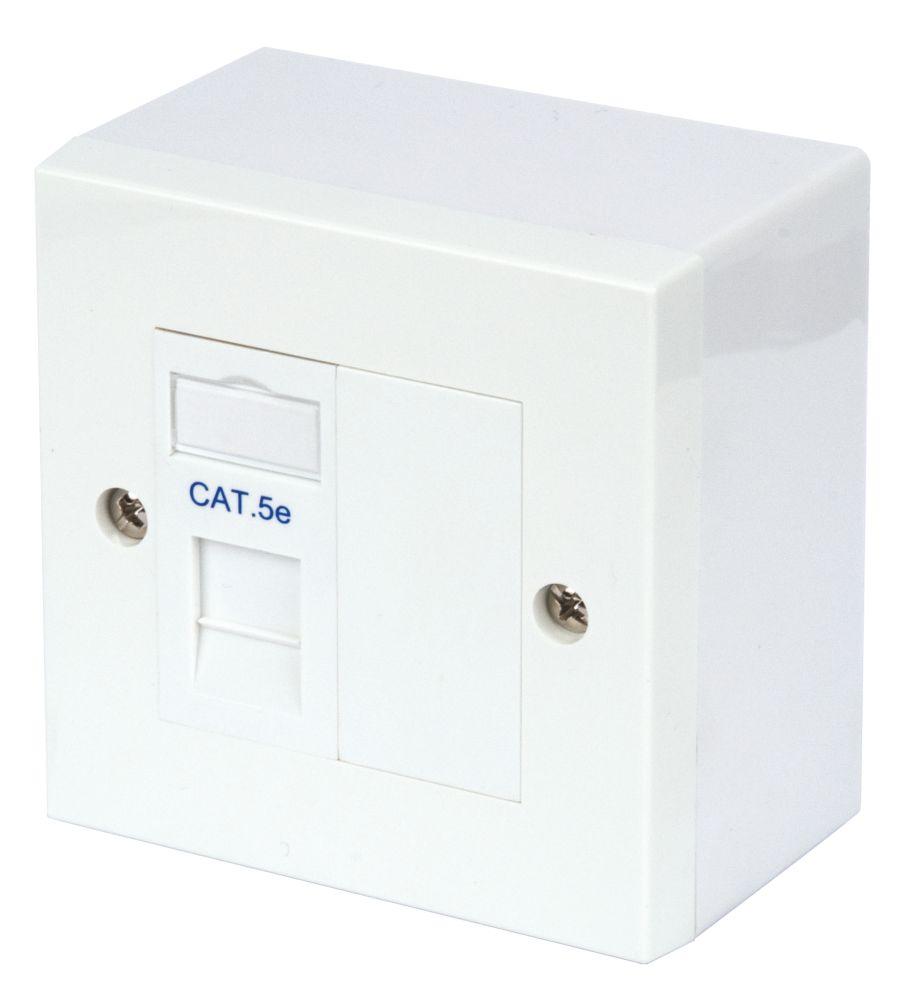 Philex Cat 5e 1-Port RJ45 Ethernet Socket WhitePhilex RJ45 Module Outlet Kit Single Cat 5e