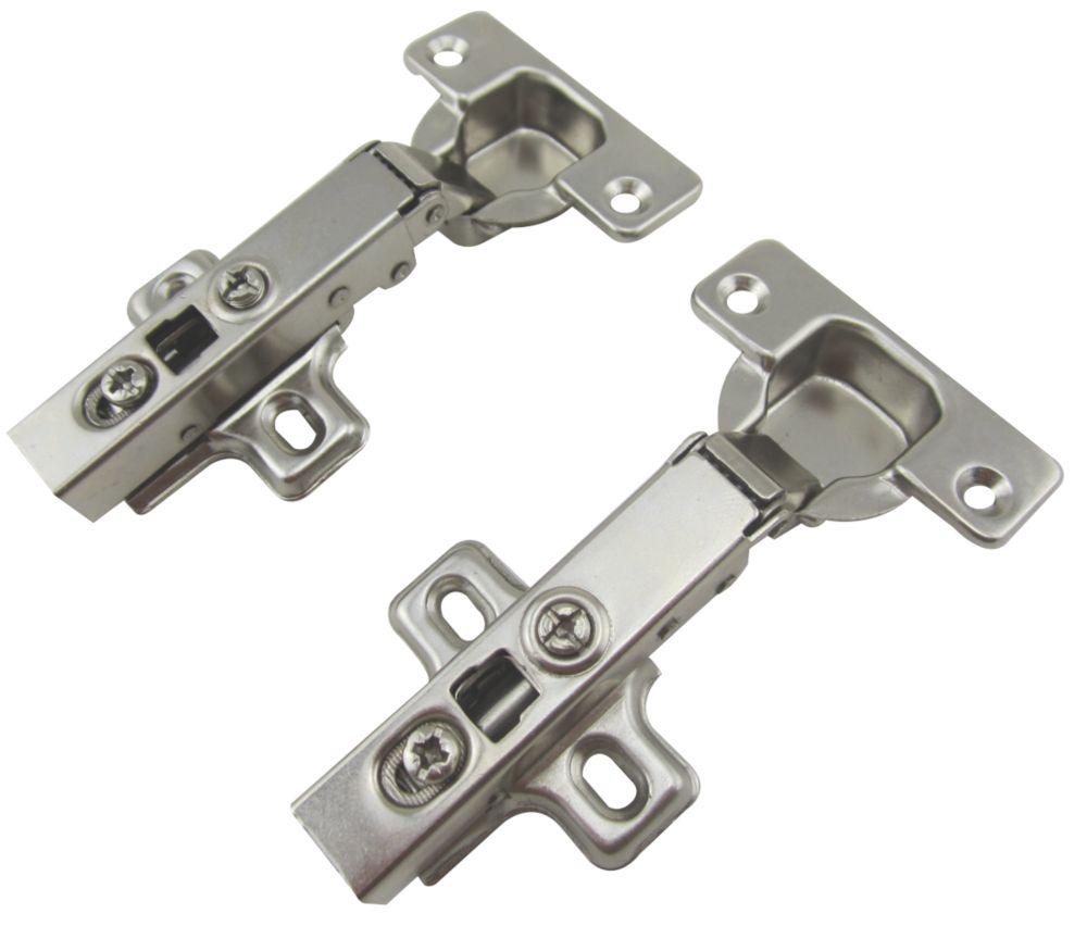 Nickel Soft-Close Clip-On Concealed Hinges 116mm 2 Pack