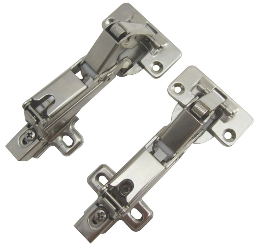 Nickel Soft-Close Clip-On Concealed Hinges 136mm 2 Pack