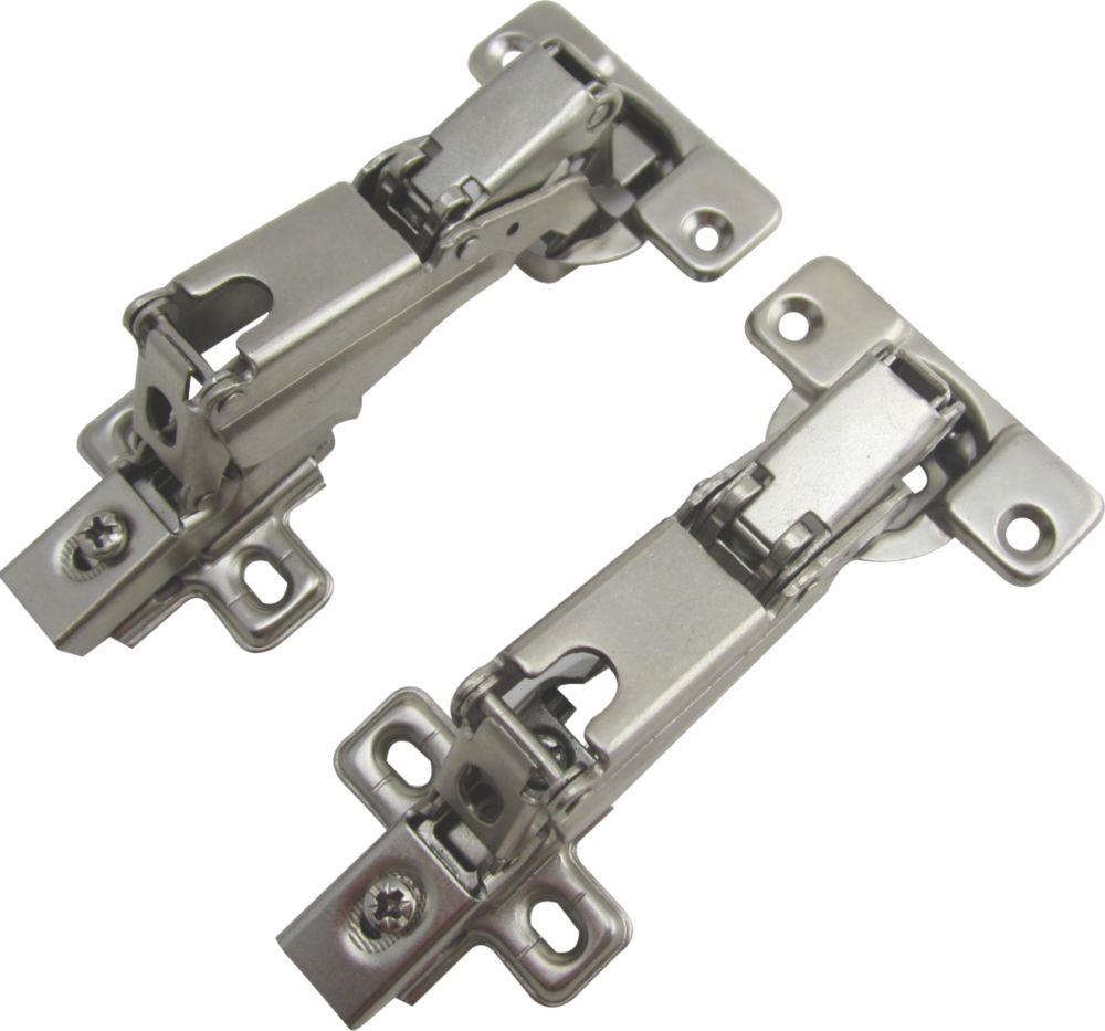 Nickel Sprung Clip-On Concealed Hinges 136mm 2 Pack
