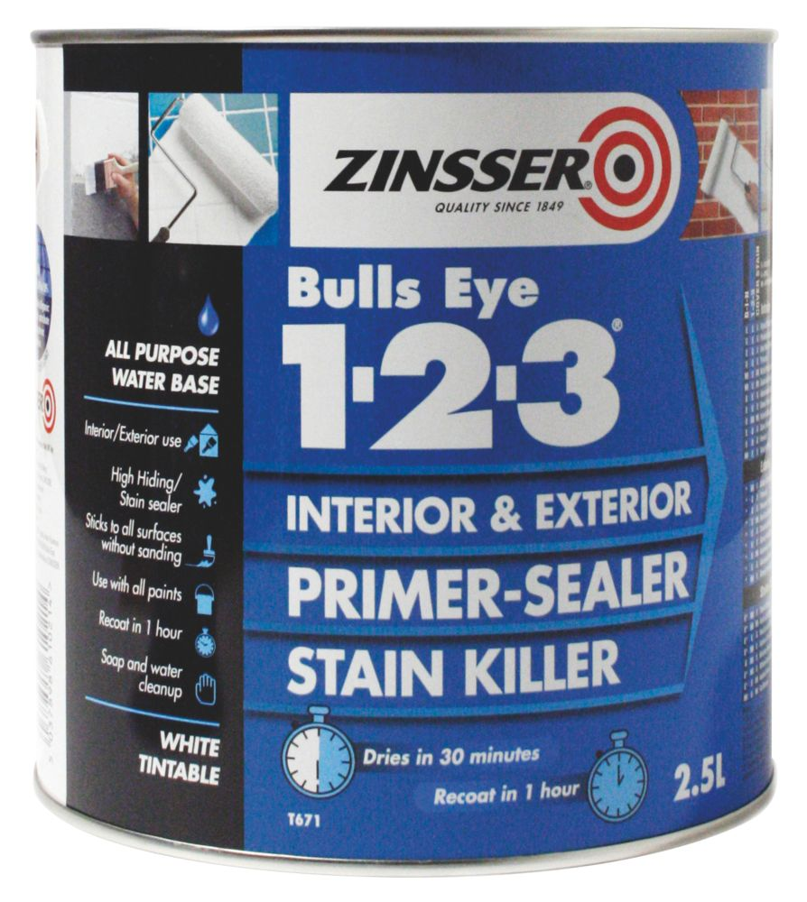 Zinsser Bulls Eye 1-2-3 Primer-Sealer 2.5Ltr