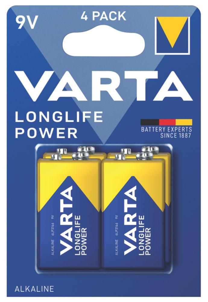 Varta Longlife Power 9V High Energy Batteries 4 Pack