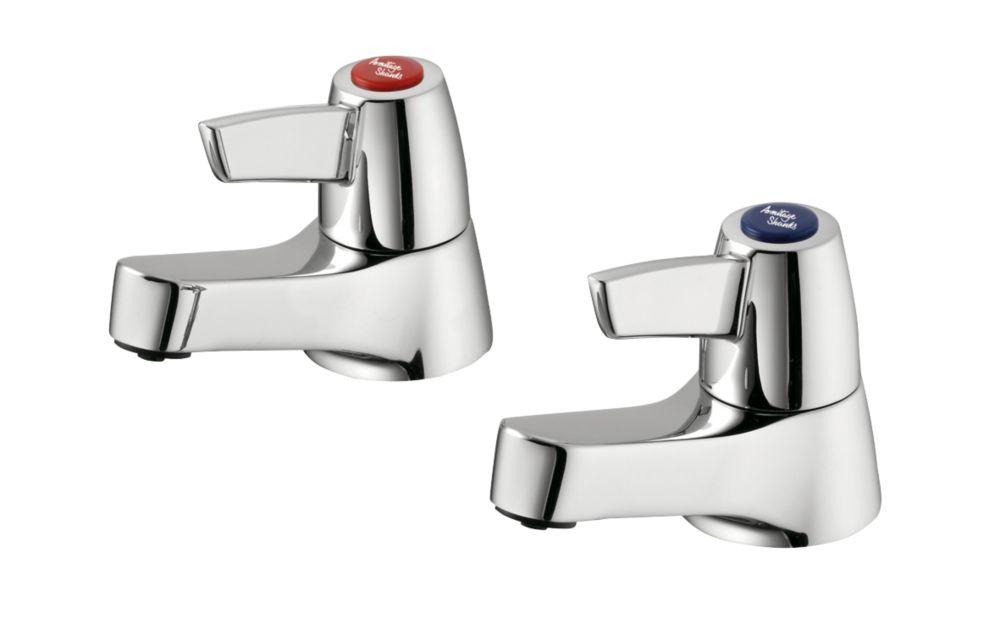 Armitage Shanks Sandringham 21 Basin Pillar Bathroom Taps Pair