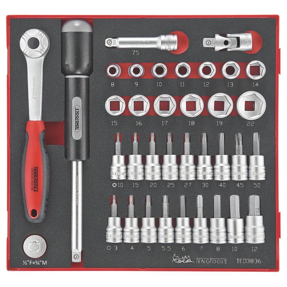 """Teng Tools TED3836 3/8"""" Drive EVA Socket Set 36 Pieces"""