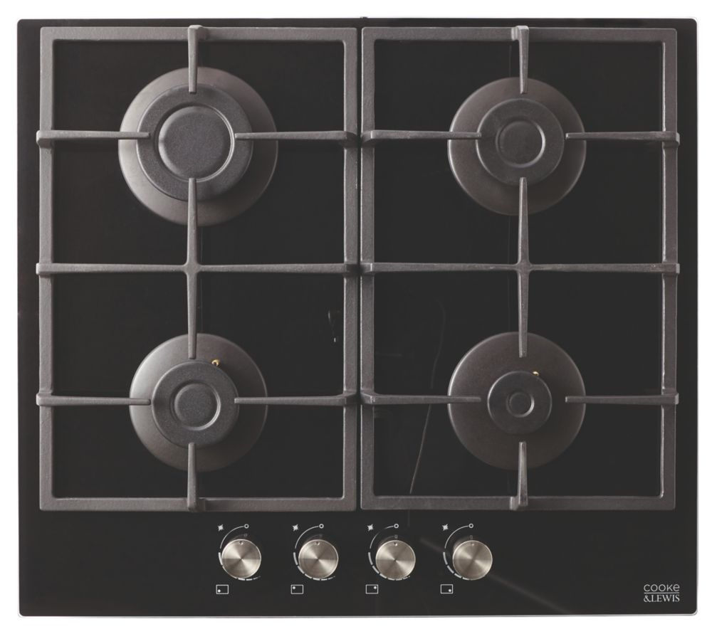 Cooke & Lewis CLGOGUIT4 Glass Gas Hob Black 94 x 593mm