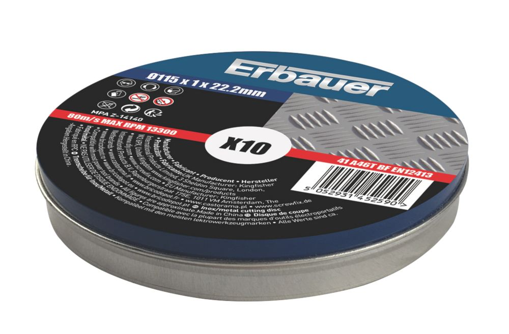 """Erbauer  Stainless Steel Cutting Discs 4½"""" (115mm) x 1 x 22.2mm 10 Pack"""