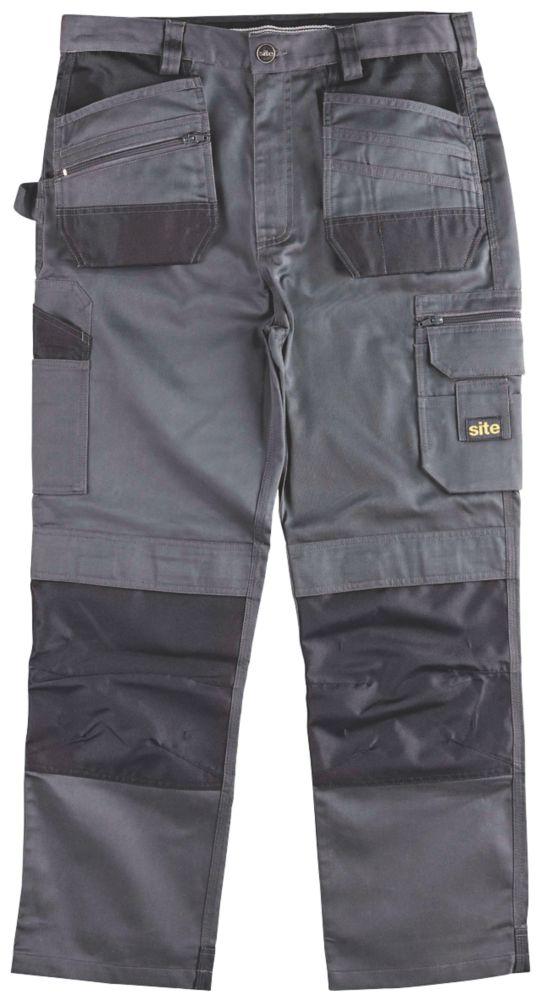 "Site Jackal Work Trousers Grey / Black 34"" W 30"" L"