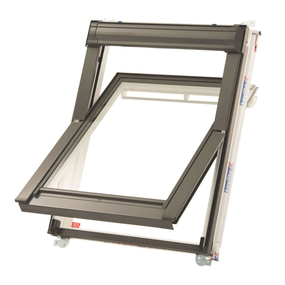 Keylite  T02 Manual Centre-Pivot White Painted Timber Roof Window Clear 550 x 980mm