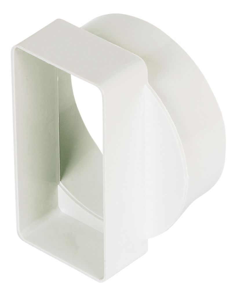 Manrose Round Pipe to Flat Channel Central Adaptor White 100mm