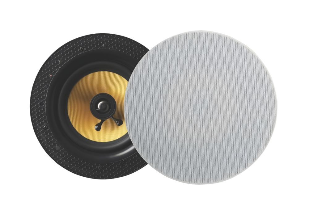 """Lithe Audio  Ceiling Speaker White Grille 9"""" 50W RMS 2 Pack"""