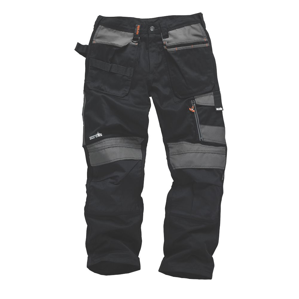 "Scruffs 3D Trade Trousers Black / Grey 30"" W 33"" L"