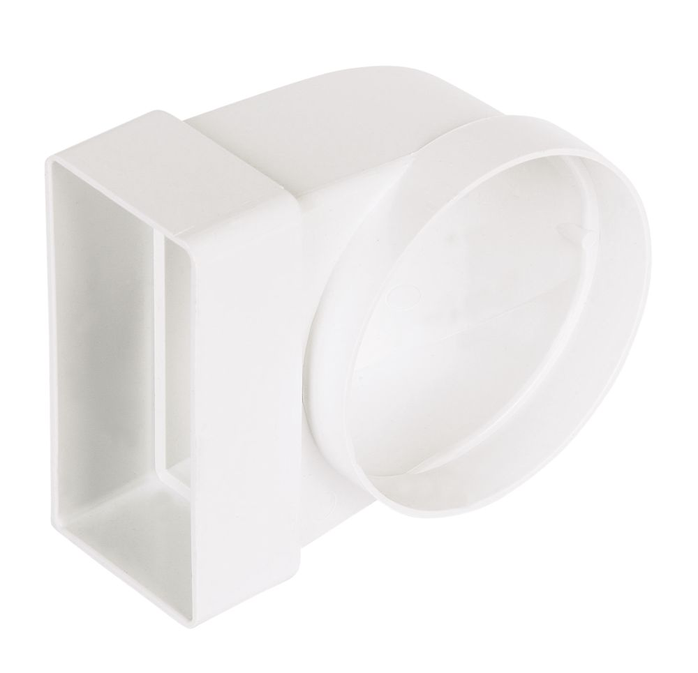 Manrose Round to Rectangular 90° Bend Appliance Connector White 100mm