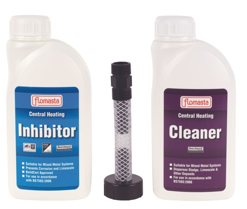 Flomasta  Central Heating Inhibitor, Cleaner & Filling Kit 1Ltr 3 Pcs