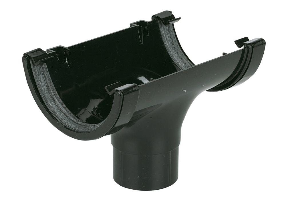 FloPlast Half Round Running Outlet 112mm Black