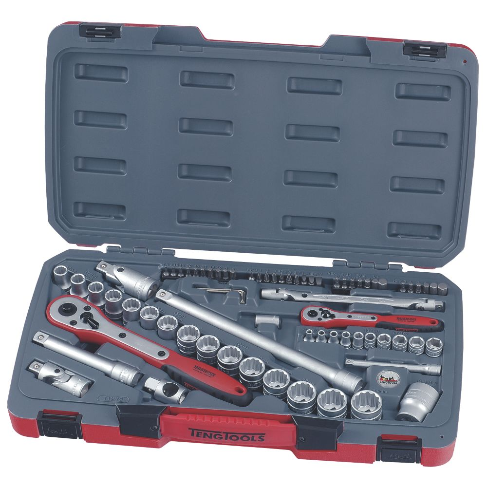 "Teng Tools  ¼"" & ½"" Socket & Screwdriver Bit Set 72 Pieces"
