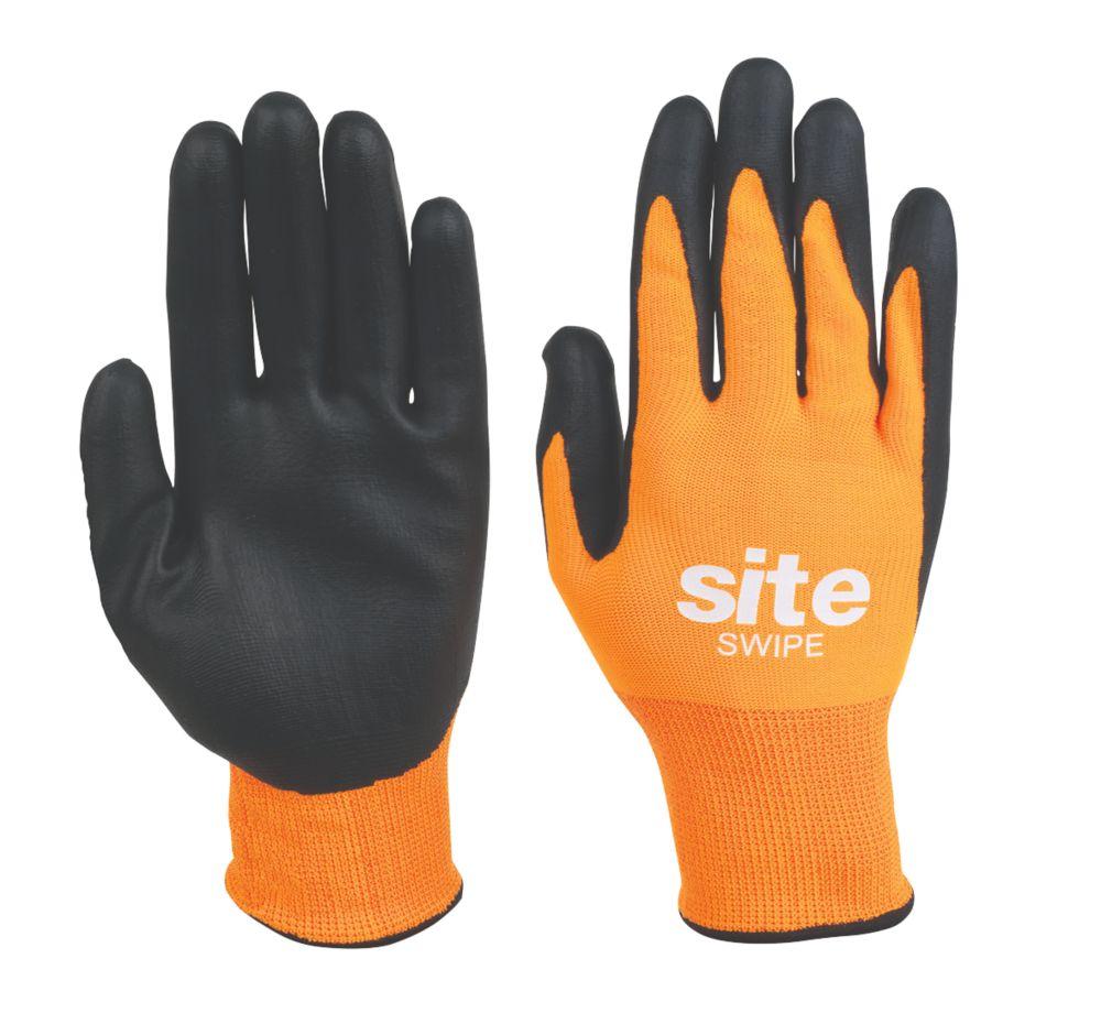 Site Swipe Touchscreen Nitrile Foam-Coated Gloves Orange / Black Large