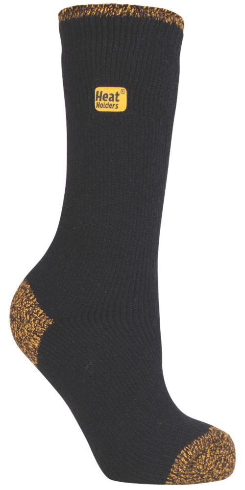 SockShop Heat Holders Socks Black / Yellow Size 4-8