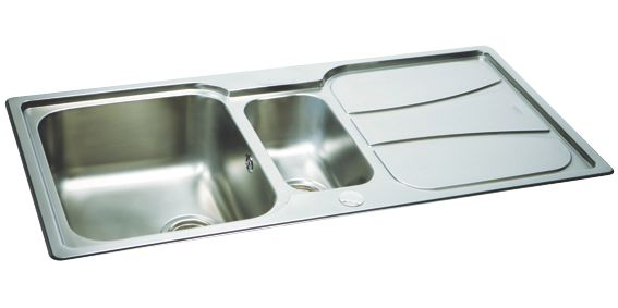 Carron Phoenix Zeta Reversible Inset Sink & Drainer Stainless Steel 1.5 Bowl 1030 x 510mm