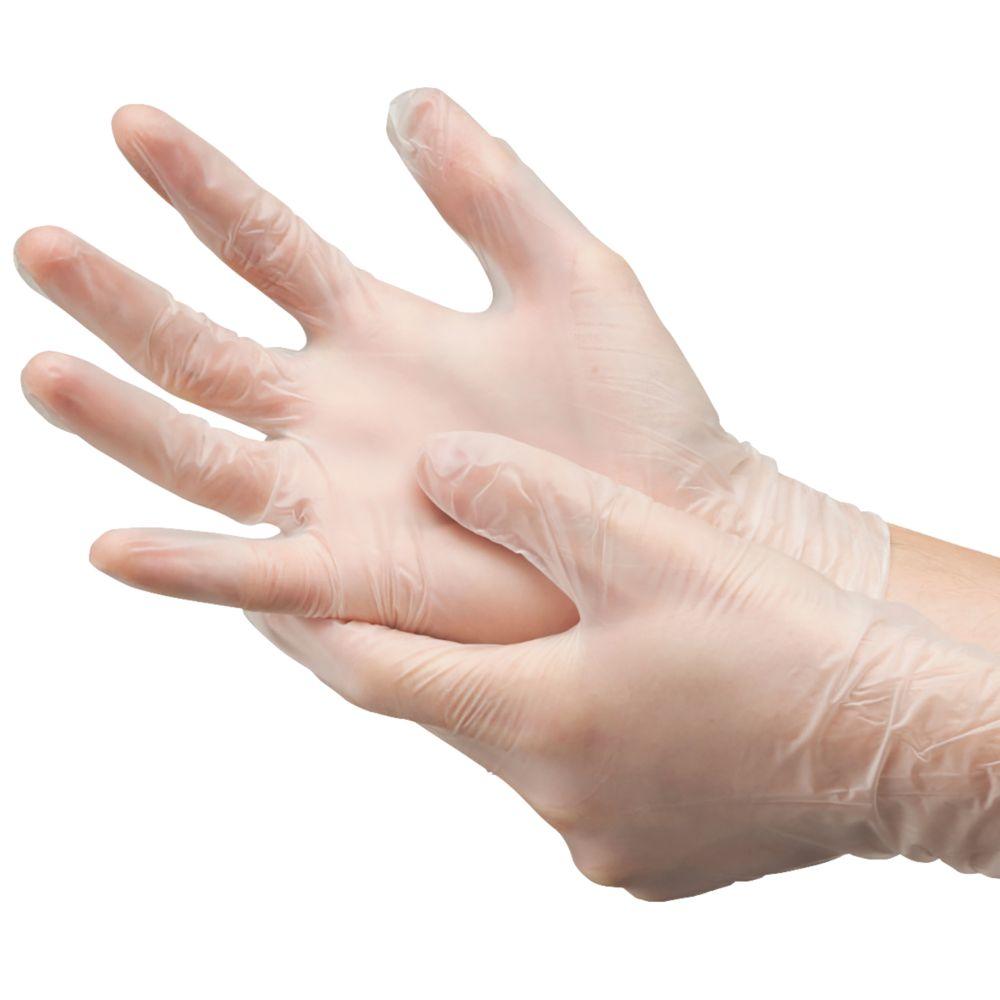 McKinnon 2602076 Vinyl Powder-Free Disposable Gloves Clear Large 100 Pack