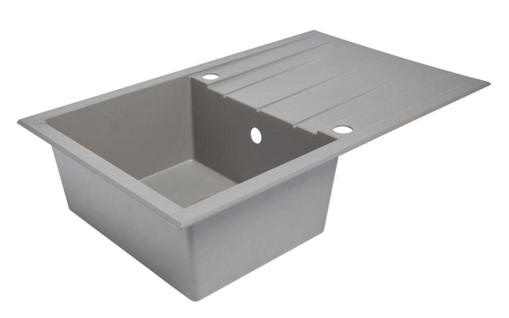 Plastic & Resin Kitchen Sink & Drainer Grey 1 Bowl Reversible 800 x 500mm
