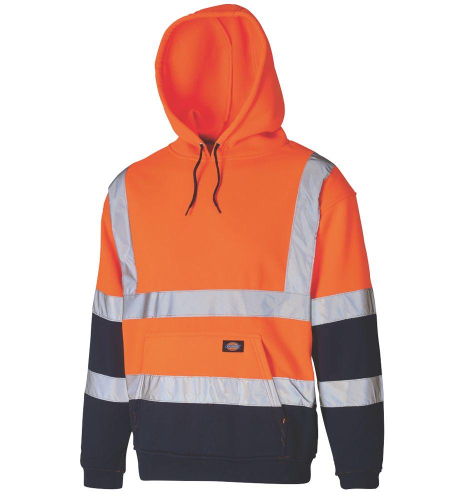 """Dickies SA22095 Hi-Vis 2-Tone Hoodie Orange/Navy X Large 50"""" Chest"""