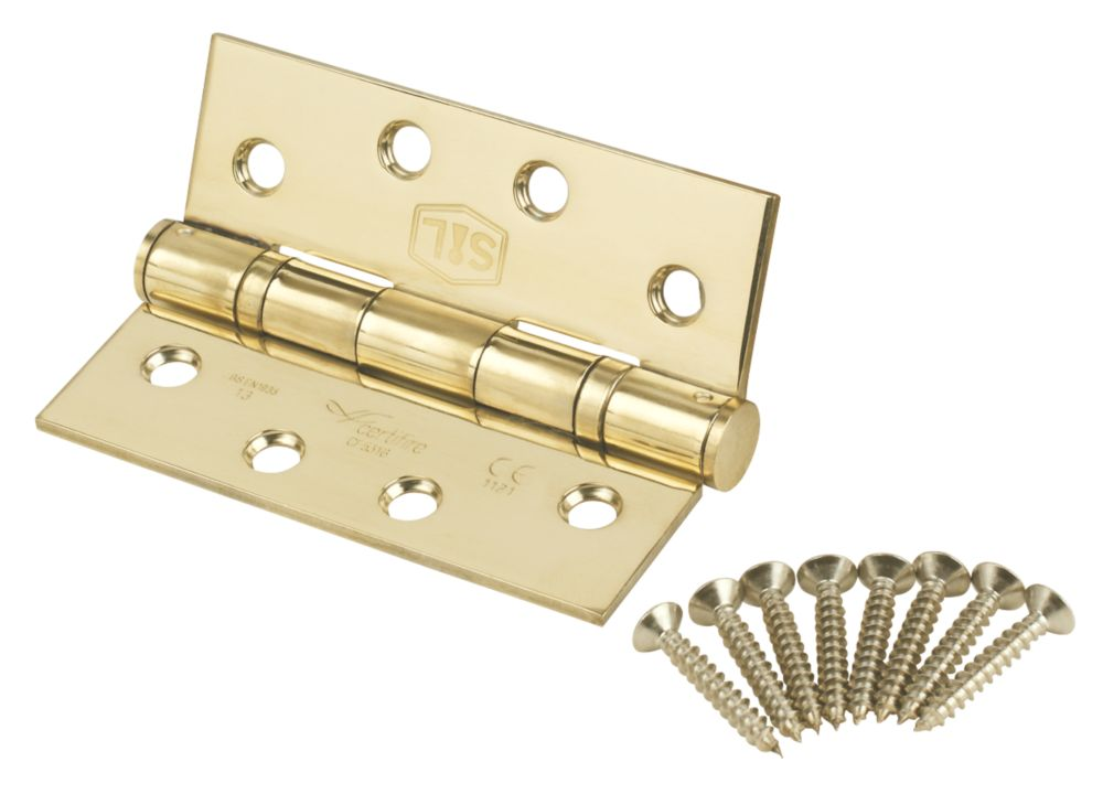 Smith & Locke Stainless Brass Grade 13 Fire Rated Square Ball Bearing Hinge 102 x 76mm 2 Pack