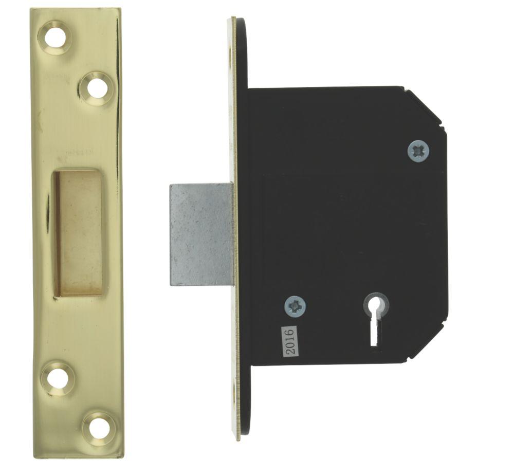 Legge Polished Brass BS 5-Lever Mortice Deadlock 68mm Case - 45mm Backset