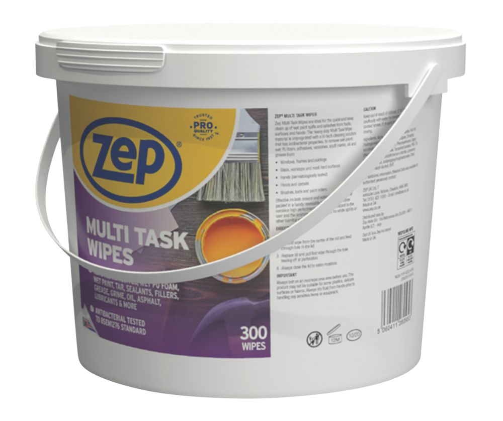 Zep Commercial Multi-Task Wipes White 300 Pack