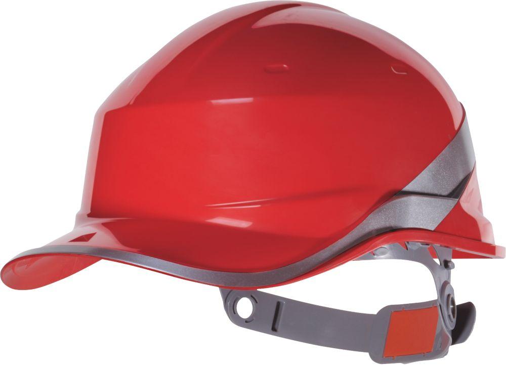 Delta Plus Diamond V Premium Push-Button Safety Helmet Red
