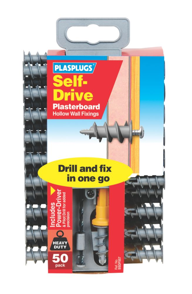 Plasplugs Self-Drive Plasterboard Fixings Nylon 33mm 50 Pack