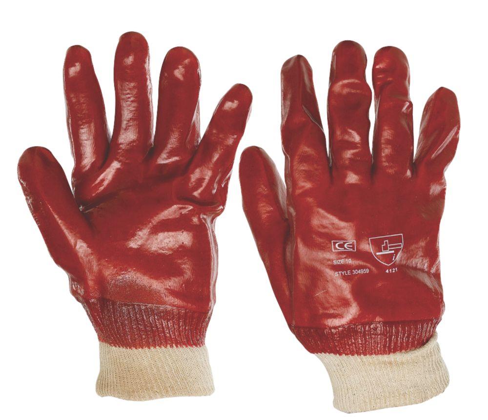 Keep Safe  PVC Gloves Red Large