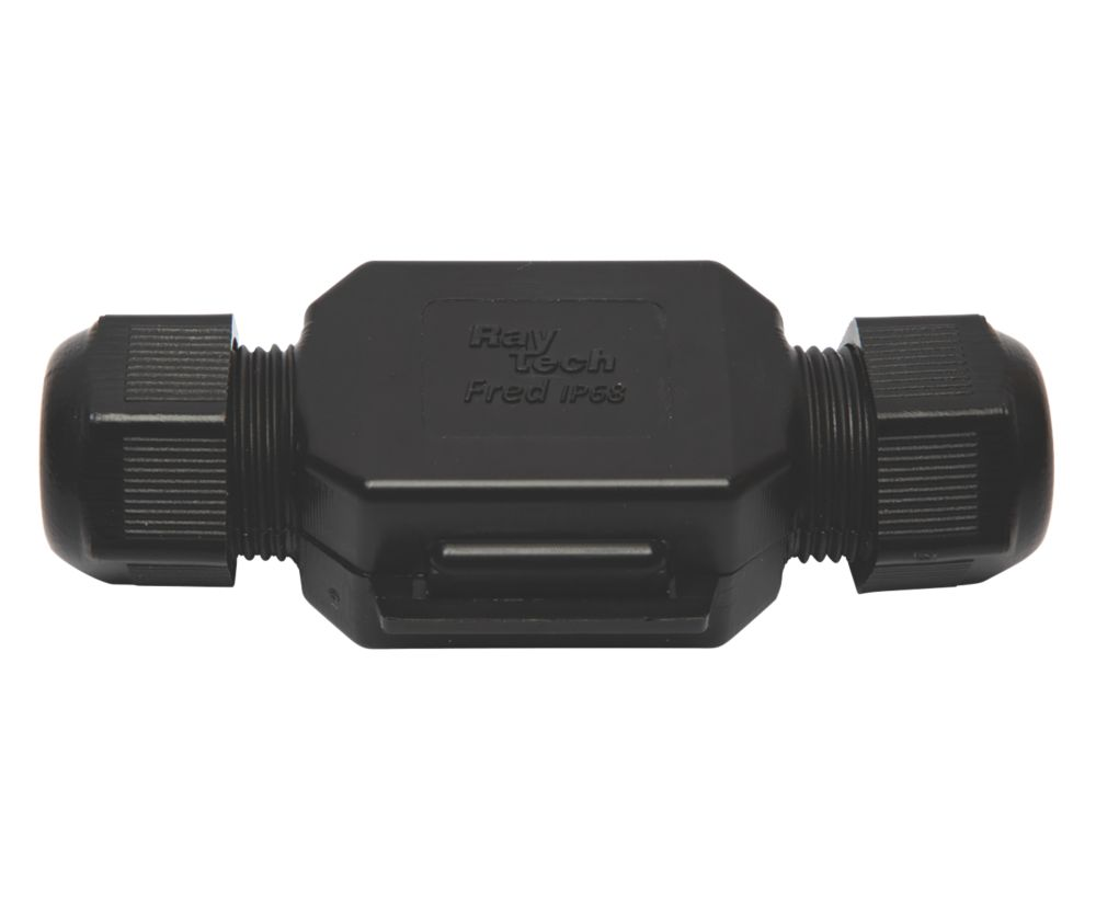Raytech 2-Entry 3-Pole IP69K Gel-Filled Straight Cable Joint Black