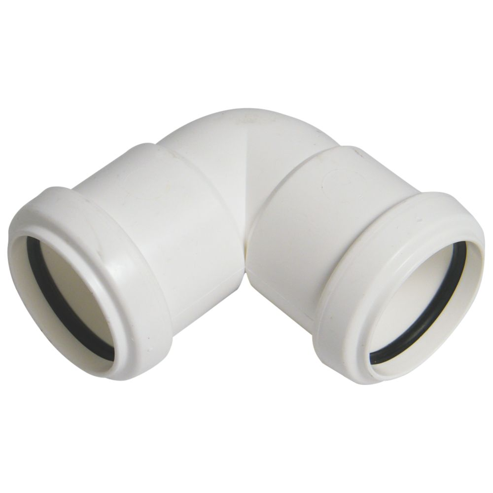 FloPlast Push-Fit Waste Knuckle Bend White 90° 40mm