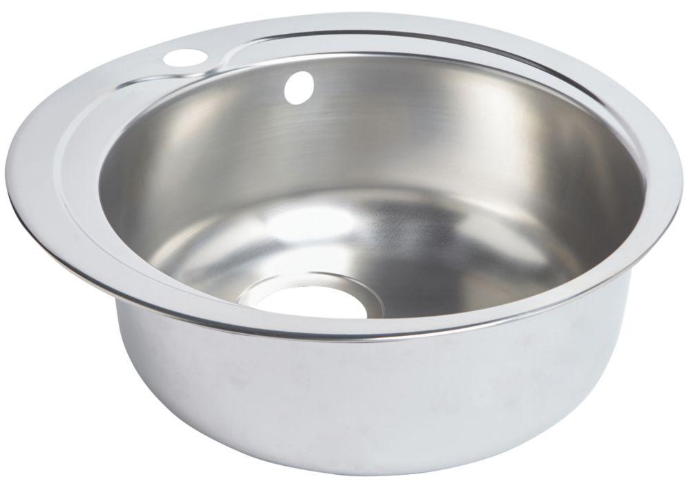 Round Kitchen Sink Stainless Steel 1 Bowl 485 x 485mm