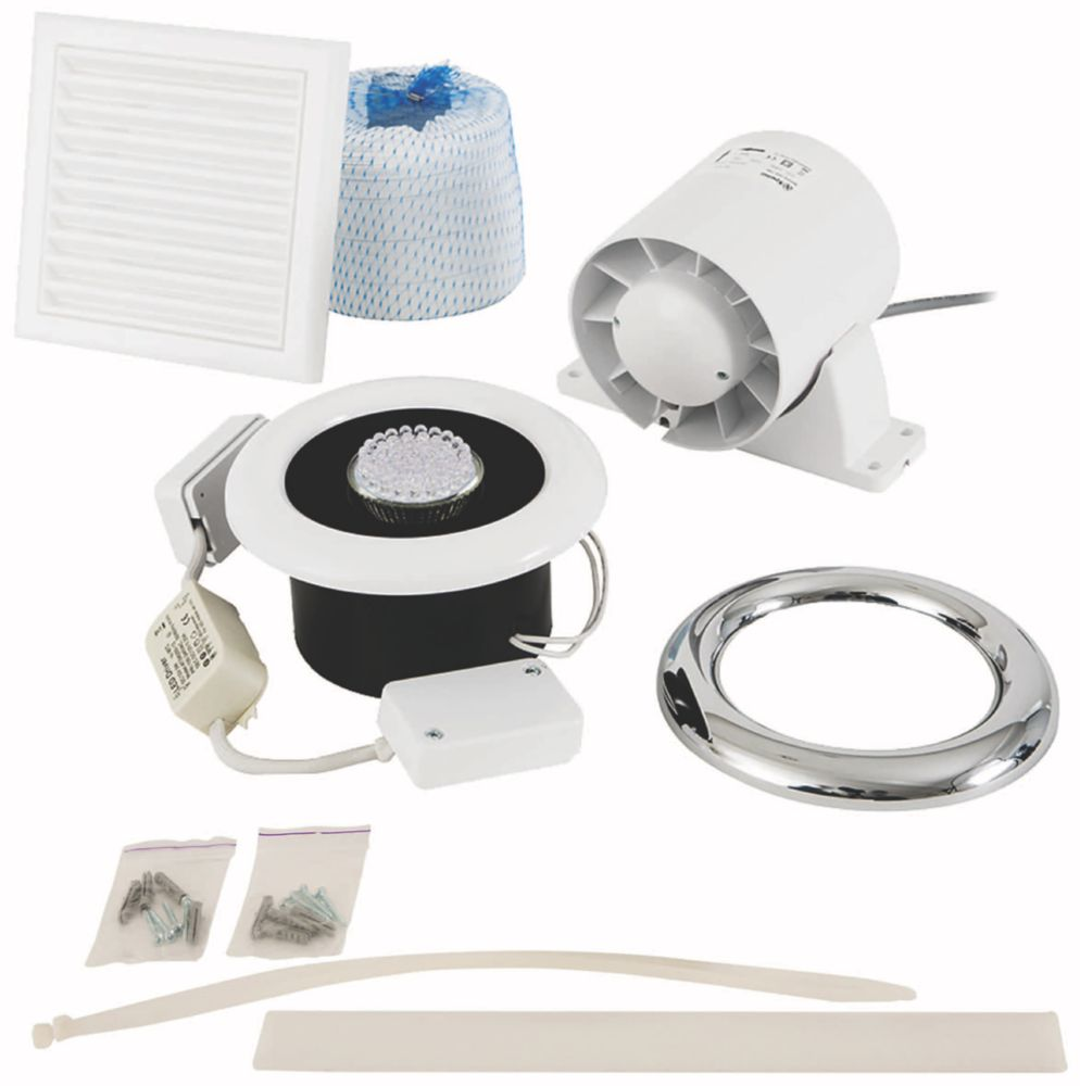 Xpelair In-Line Axial Shower Fan Kit with Timer White / Chrome 100mm