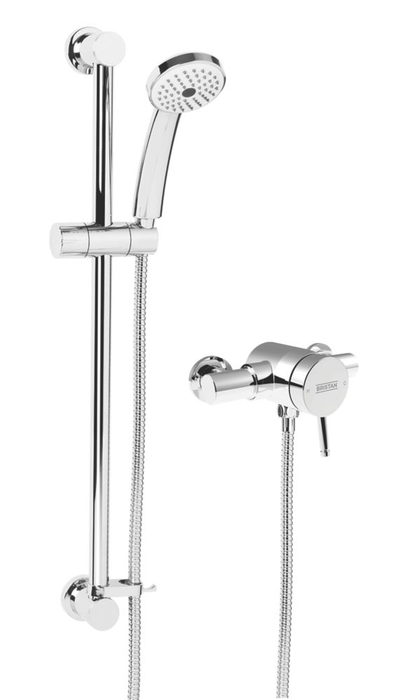 Bristan Strato Rear-Fed Exposed Chrome Thermostatic Mini-Valve Mixer Shower with Adjustable Riser Kit