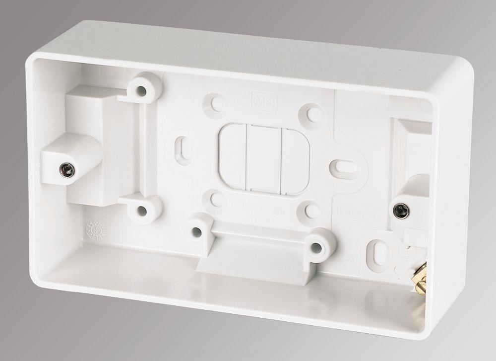 MK 2-Gang Surface Pattress Box White 44mm