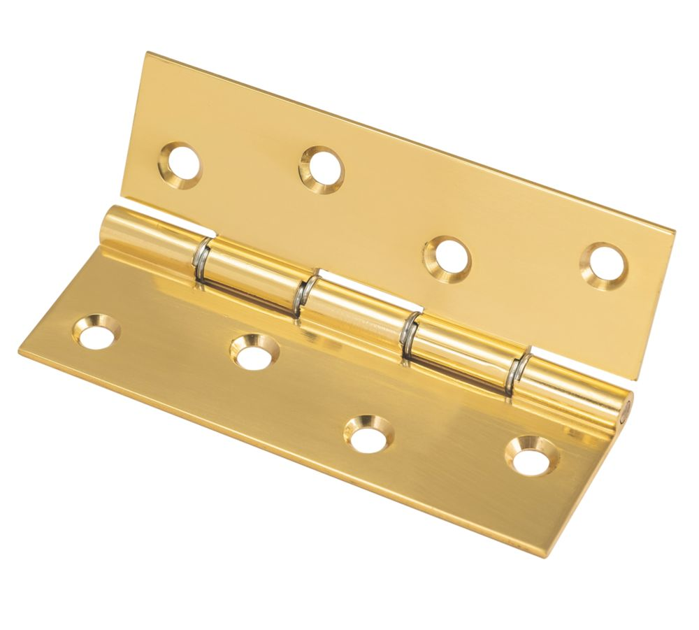 Polished Brass  Washered Hinge 102 x 67mm 2 Pack