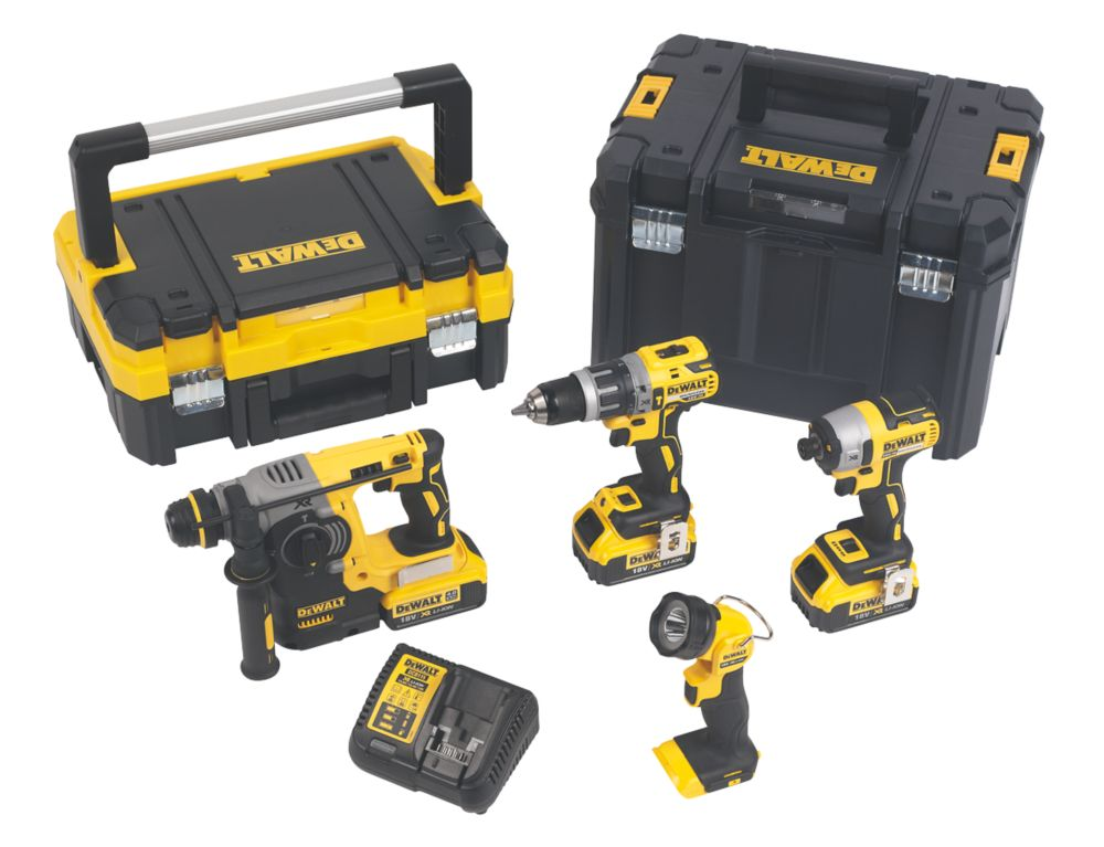 DeWalt DCK456M3T-GB 18V 4.0Ah Li-Ion XR Brushless Cordless 4-Piece Power Tool Kit