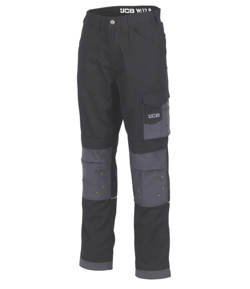 "JCB Rip-Stop Trousers Black / Grey 30"" W 32"" L"