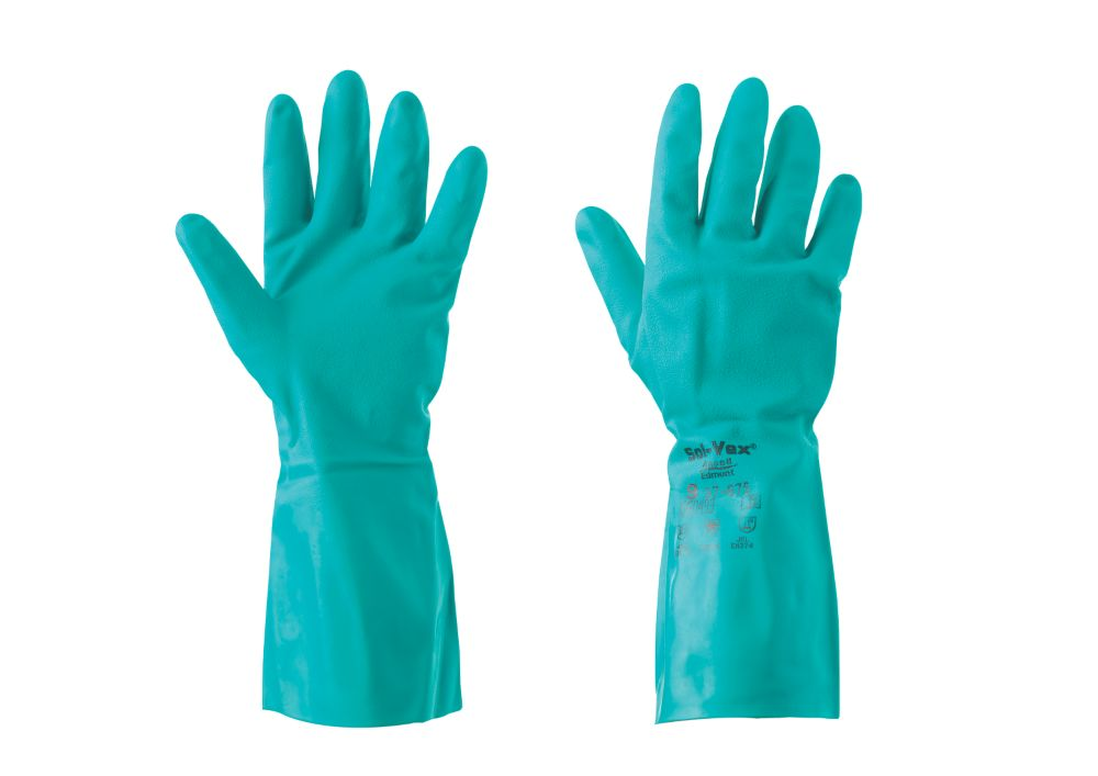 Ansell Sol-Vex 37-675 Chemical-Resistant Gloves Blue Large