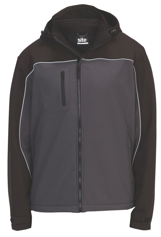 """Site Kardal Water-Resistant Softshell Jacket Black /  Grey Large 51"""" Chest"""