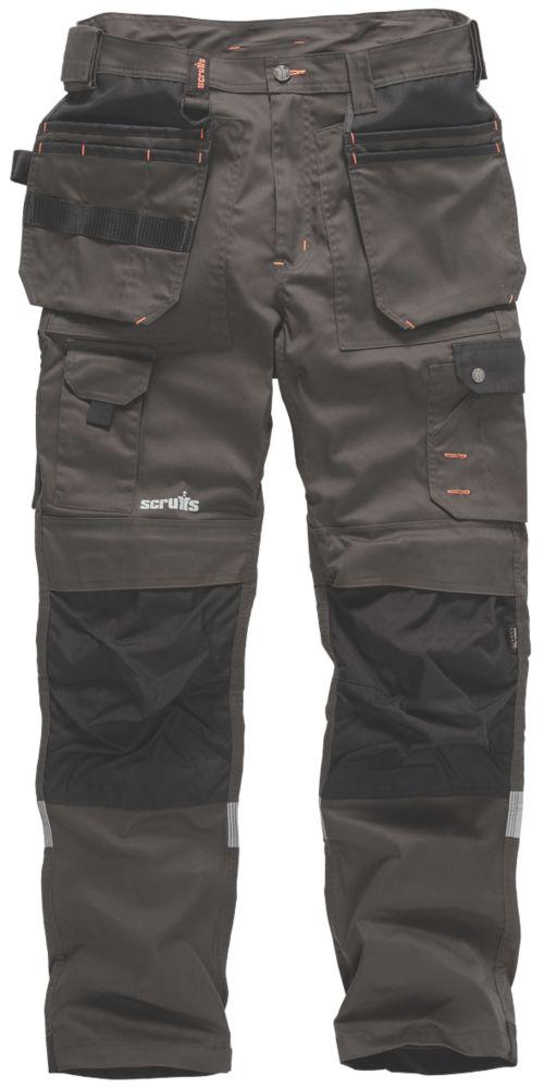 """Scruffs Trade Stretch Work Trousers Grey and Black 36"""" W 32"""" L"""
