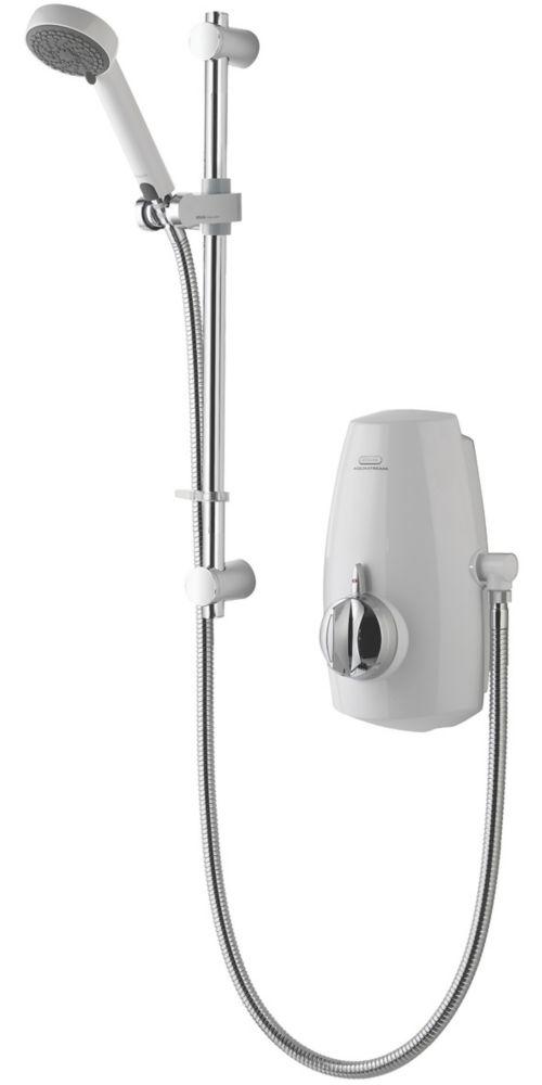 Aqualisa Aquastream Gravity-Pumped White / Chrome Thermostatic Power Shower