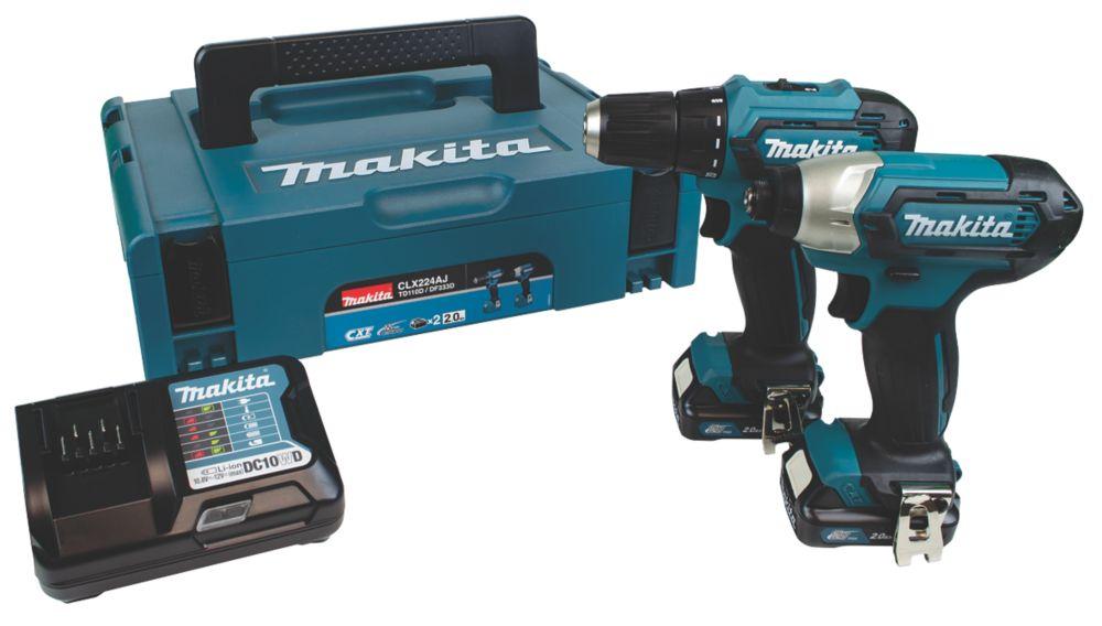 Makita CLX224AJ 12V 2.0Ah Li-Ion CXT  Cordless Drill Driver & Impact Driver Twin Kit