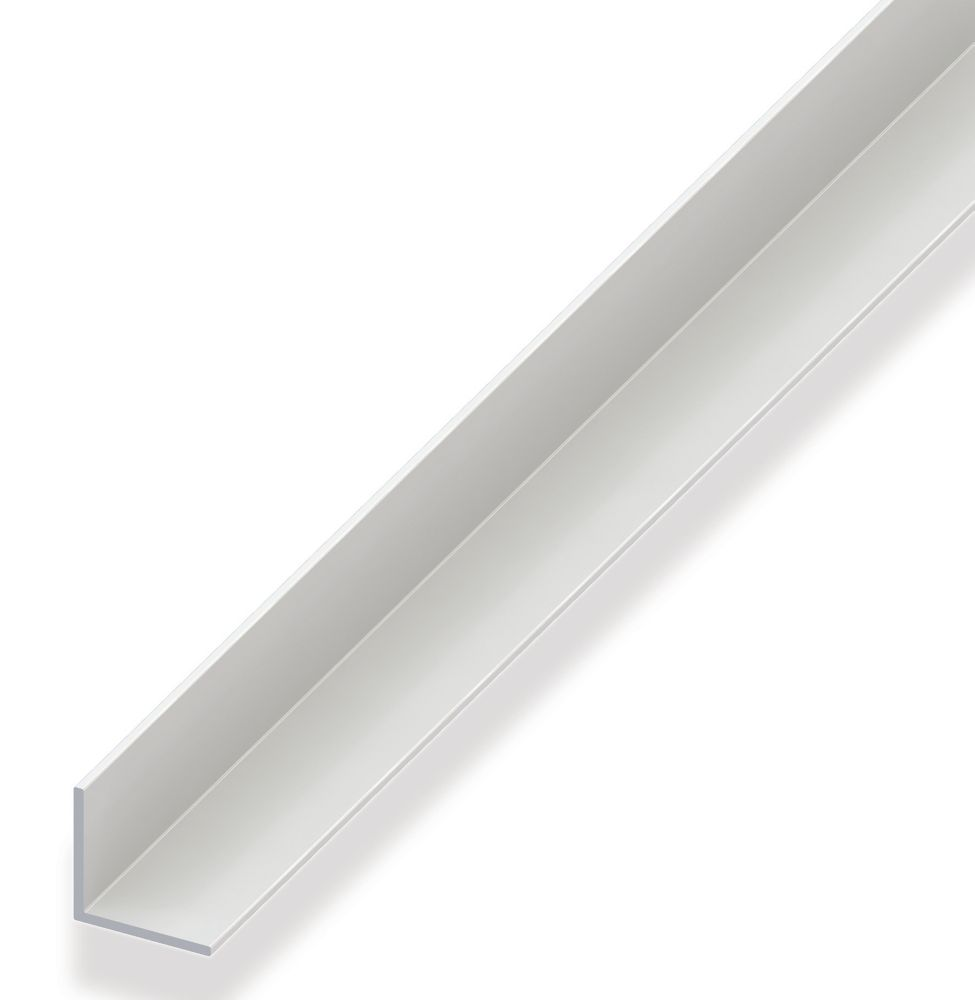 Alfer White PVC Equal-Sided Angle 1000 x 20 x 20mm