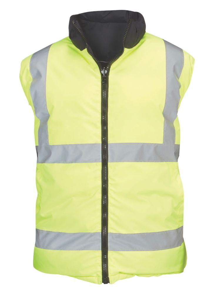 "Reversible Hi-Vis Body Warmer Yellow / Black Large 43-46"" Chest"