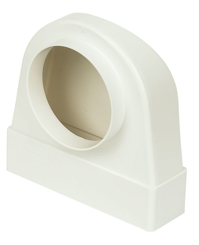 Manrose Round to Rectangular Appliance Connector Elbow 90° Bend White 125mm