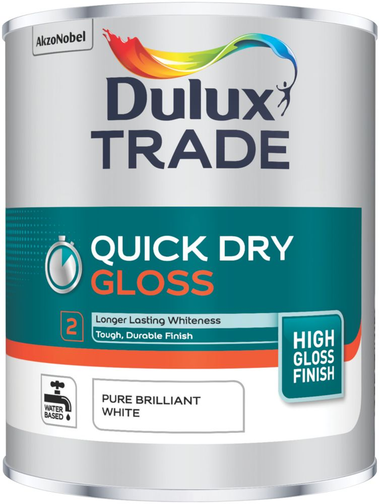 Dulux Trade  Quick-Dry Gloss Paint Pure Brilliant White 1Ltr