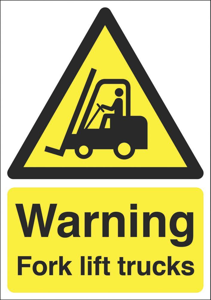 """Warning Fork Lift Trucks"" Sign 210 x 148mm"